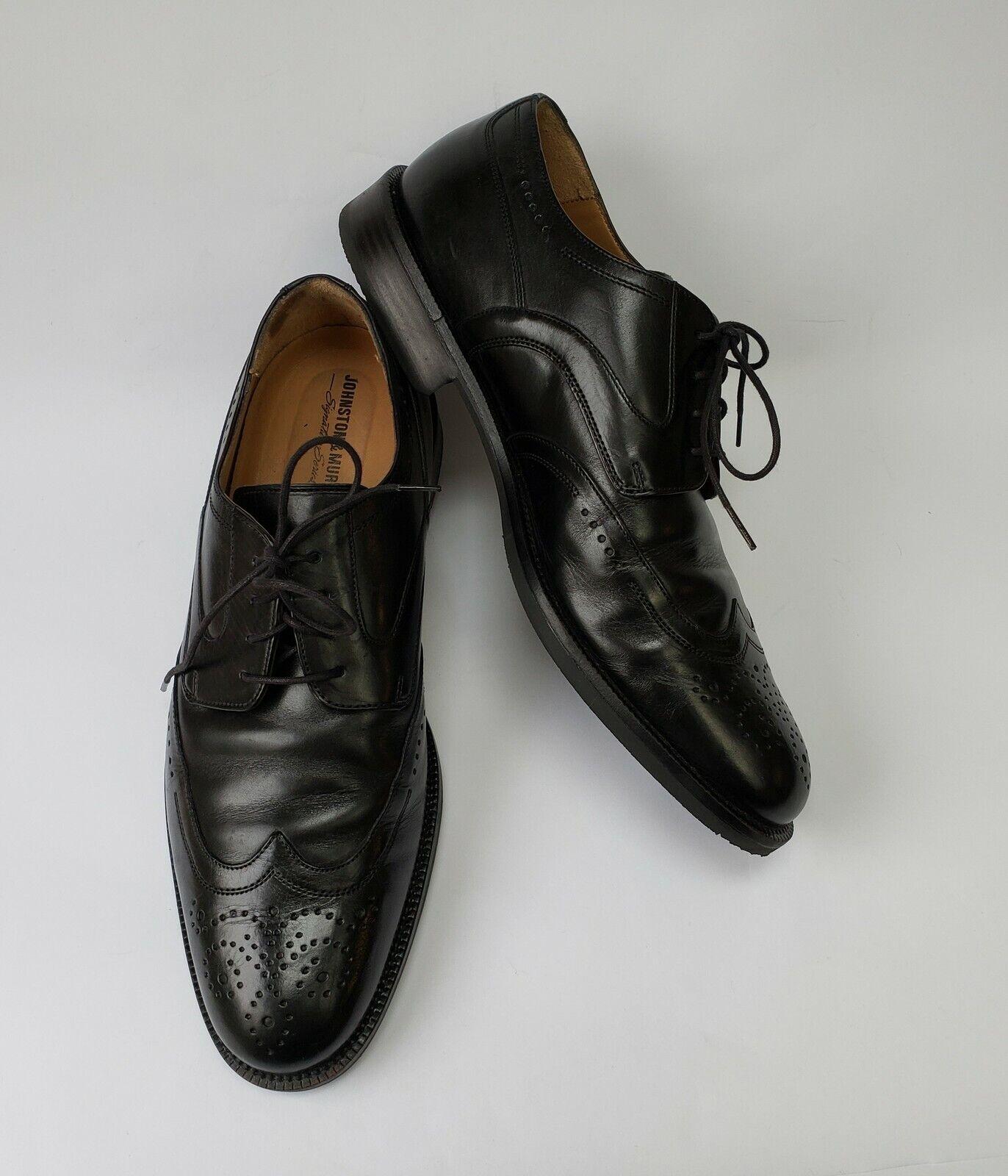 Johnston Murphy Mens Shoes Black Wingtips Oxford Signature Size US 9.5 M