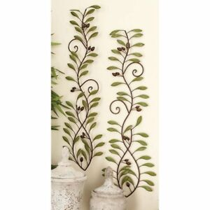 Details About Decorative Scrolling Tuscan Set 2 Olive Leaf Branches Metal Wall Art Sculpture