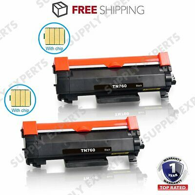 2 PK High Yield TN760 Toner Cartridge with IC Chip Compatible for Brother TN730
