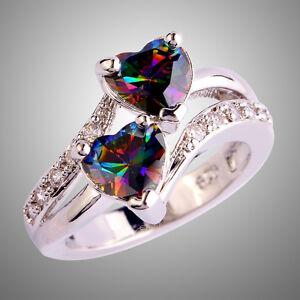 Double-Heart-Rainbow-amp-White-Topaz-Gemstone-Silver-925-Ring-Size-L-N-P-R-T-V-Y-Z