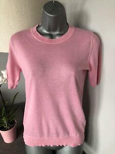 Designer-Jaeger-Rose-Doux-Soie-et-Laine-Femme-Taille-M-UK-10-12