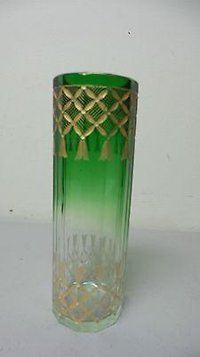 ANTIQUE MOSER GREEN TO CLEAR CYLINDER ART GLASS VASE, ELABORATE GILT DECORATION