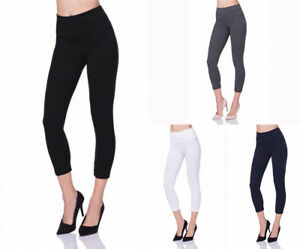Oh Pretty Womens Leggings Ladies Plain Stretchy Viscose Full Length Size 8-22