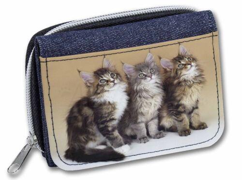 AC-28JW Cute Maine Coon Kittens Girls//Ladies Denim Purse Wallet Christmas Gift