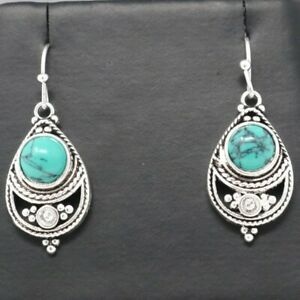Vintage-Antique-Blue-Turquoise-Earrings-Women-Jewelry-14K-White-Gold-Plated-Gift