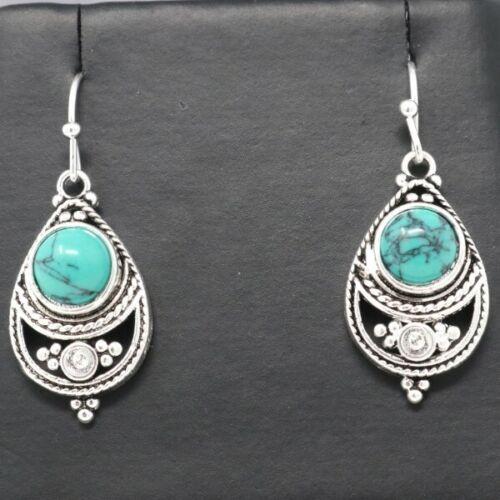 Vintage 2 Ct Bleu Turquoise Boucles D'oreilles Femmes Mariage Bijoux Cadeau Tibetan Silver