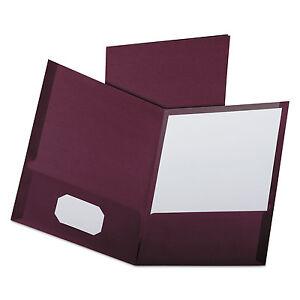 Oxford Linen Finish Twin Pocket Folders Letter Burgundy 25