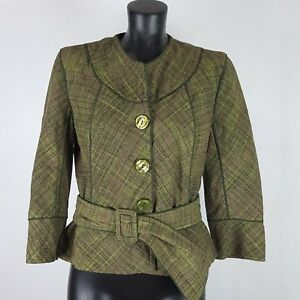 Nine-West-Plaid-Tweed-Blazer-Womens-Olive-Green-Button-Front-Belt-Fit-Flare-Sz-8