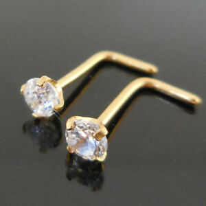 Pair-Prong-Set-Gold-Tone-Stainless-18G-20G-L-Shaped-Bone-Nose-Rings-Body-Jewelry