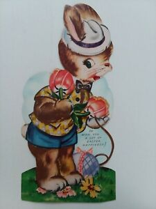 Large-1940-50s-Vtg-Mechanical-ANTHROPOMORPHIC-BUNNY-Egg-EASTER-GREETING-CARD