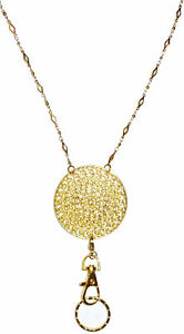 Details about Trendy Women's Fashion Lanyard and Necklace, ID Badge Holder  (Gold Round)