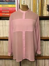 H&M Trend sheer pink relaxed fit minimalist shirt blouse top UK 12 / US 8