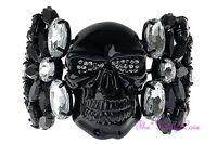 Jolly Roger Squelette Crâne Os Brillant Noir Bracelet Rigide w