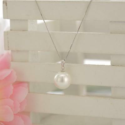 Lustrous 14MM White sea shell pearl drop pendant necklace