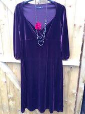 Marks & Spencer 40s WW2 Style Christmas Plum Claret Aubergine Velvet Dress  12