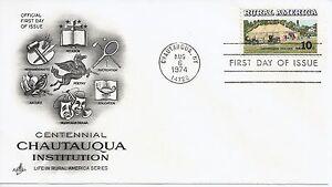 US-Scott-1505-First-Day-Cover-8-6-74-Chautauqua-Single-Rural-America