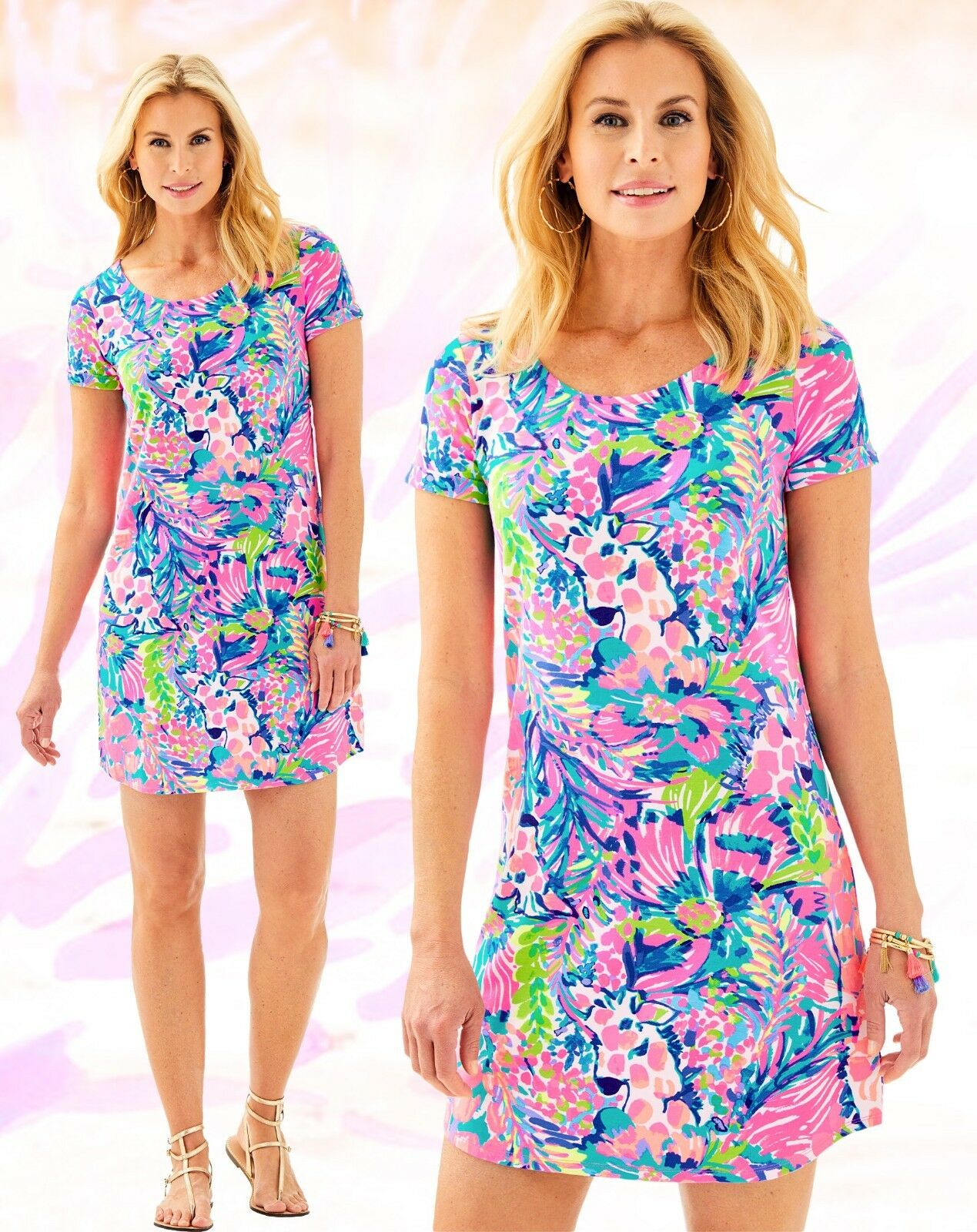 Lilly Pulitzer Tammy UPF 50+ Multi Gumbo Limbo French Terry Tunic Shirt Dress