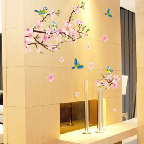 Magpie Peach Blossom Pattern Wall Sticker Mural Decal Home Art Decor Sanwood