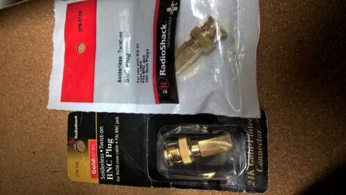 Radio Shack Solderless Twist-On BNC Plug  278-0102 4 RG-58 Coax cable 24k Gold p