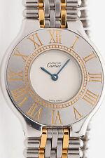 MINT $3000 Cartier Ladies 18k Gold SS MUST 21 Watch & BOX