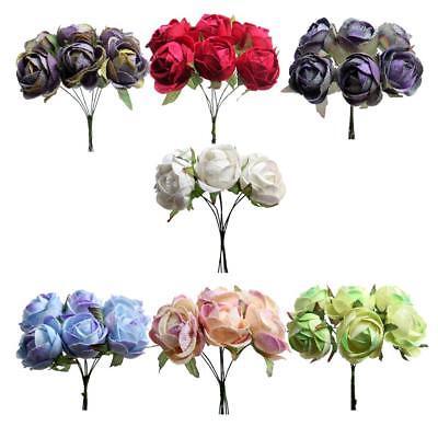 6pcs//Set Artificial Silk Flowers Bouquet for Wedding Home Decor DIY Craft Supply