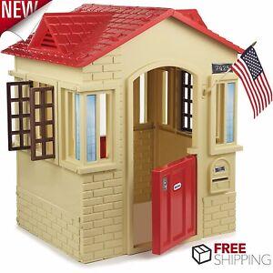 Plastic Playhouse Kids Cottage Children Indoor Outdoor Play House ...
