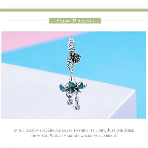 De mujer europeas Hágalo usted mismo encantos S925 plata esterlina Flor Azul Fit Pulsera Joyería