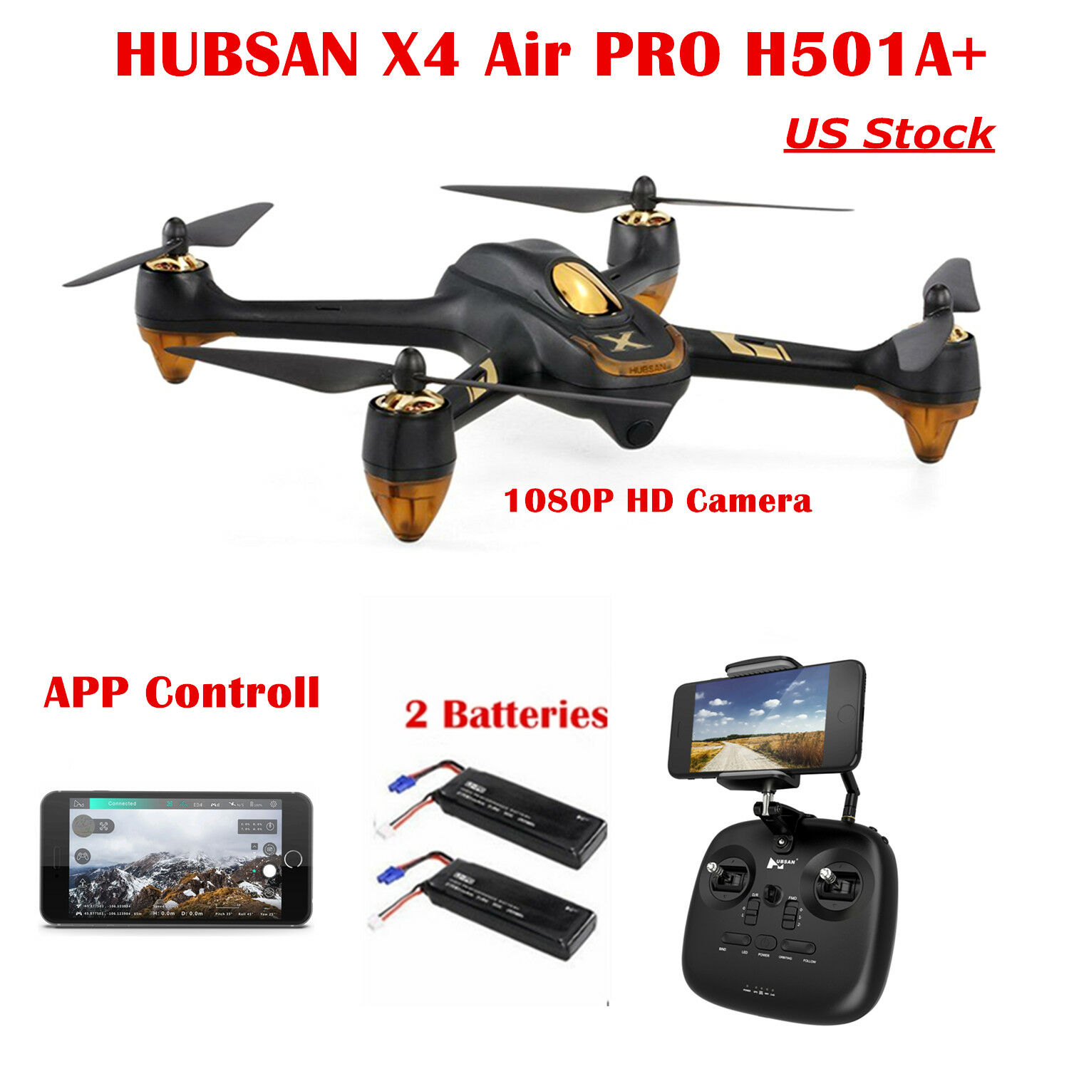 Hubsan X4 H501A Brushless FPV RC RC RC Quadcopter APP 1080P CAM Follow Me GPS + Remote 3ed854