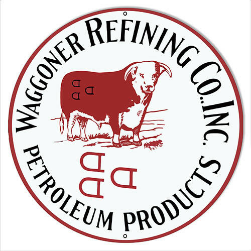 """Waggoner Refining Petroleum Reproduction Motor Oil Metal Sign 14/""""x14/"""" Round"""