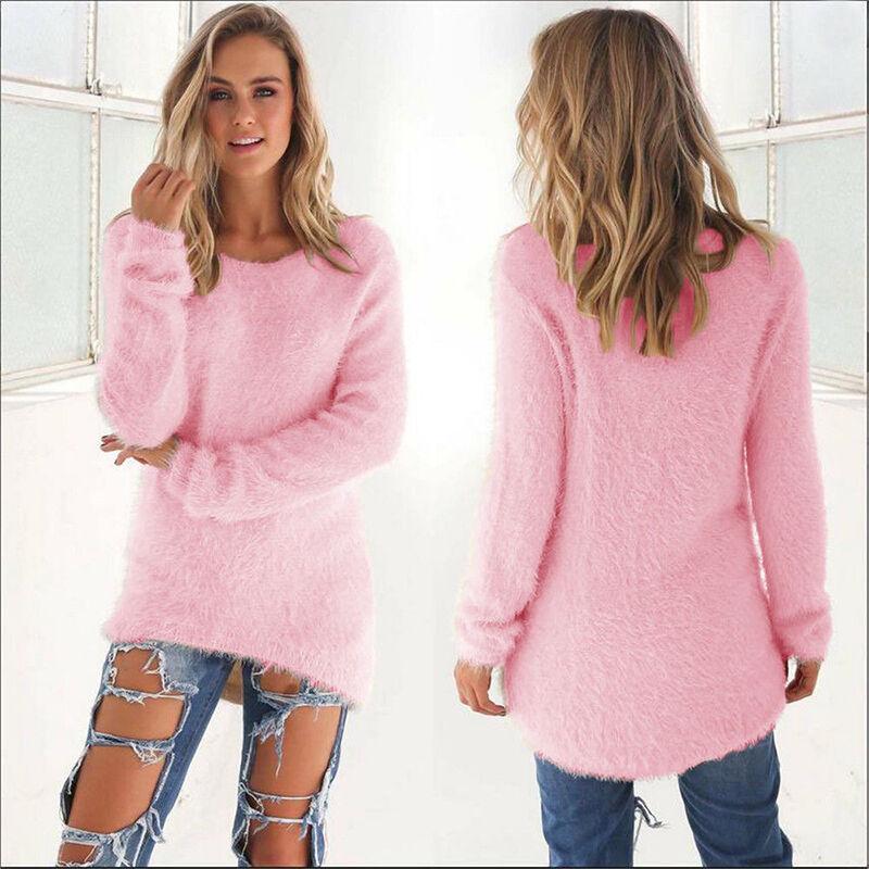 Damen Pullover Pulli Strickpullover Winter Strickjacke Sweater Longtops Oberteil