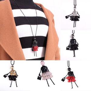 Grosse-Kleid-Puppe-Halskette-lange-Kette-Mode-Pullover-Schmuck-5-FarLbG-XJ