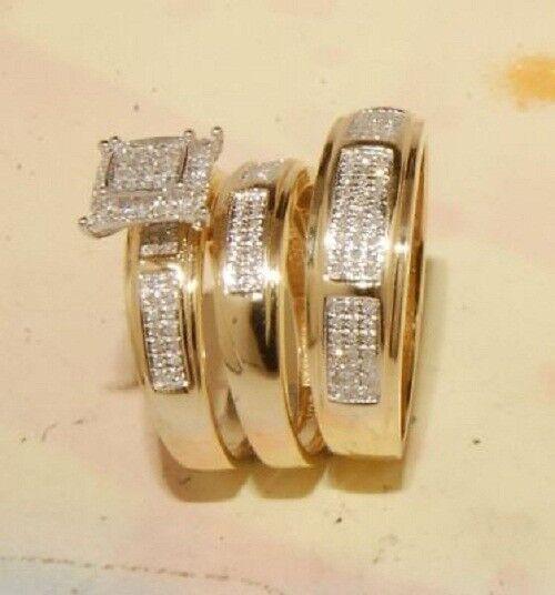 Men And Ladies Diamond & Yellow gold Over Trio Set Wedding  Engagement Ring