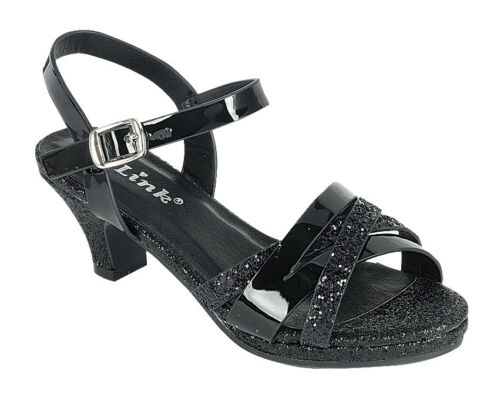 NEW Youth Kids Girls Glitter Rhinestone Low Heel Party Pageant Sandal Dress Shoe