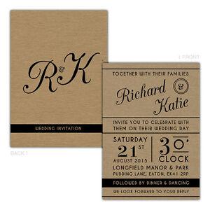 Personalised-kraft-day-evening-wedding-invitations-STYLISH-VINTAGE-ARTWORK-TYPOG