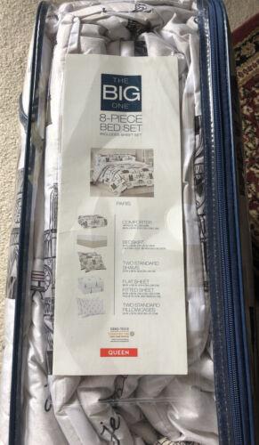 The Big one PARIS 8-Piece queen complete Bedding comforter Set Reversable.