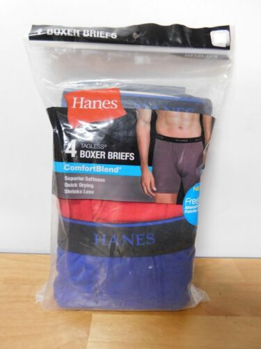Hanes Men/'s 4-Pack Comfortblend Boxer Briefs with FreshIQ-XL-CBBBA4-NEW