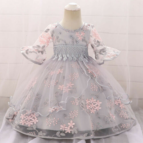 Floral Girls Lace Princess Bridesmaid Pageant Gown Birthday Party Wedding Dress