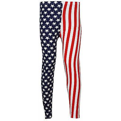 New Womens Ladies Plus Size USA American Flag Leggings 12 14 18 20 22 24 26