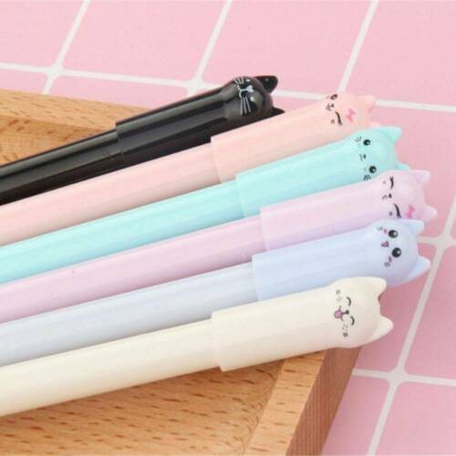 Lot 6PCS Kawaii Cute Cat Gel Pen Black Ink Pens Stationery School Office Supply