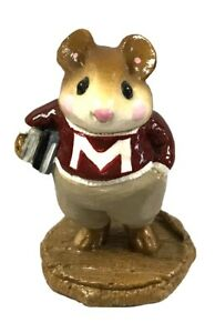 Wee-Forest-Folk-M-139-Mouse-on-Campus-Maroon-and-White-RETIRED-with-WFF-Box
