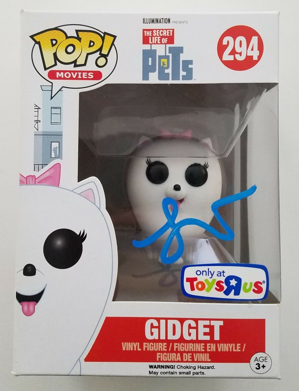 Jenny Slate Signerade Gidget Funko POP Leksaksfordon Exclusive Secret liv Of Pets RAD