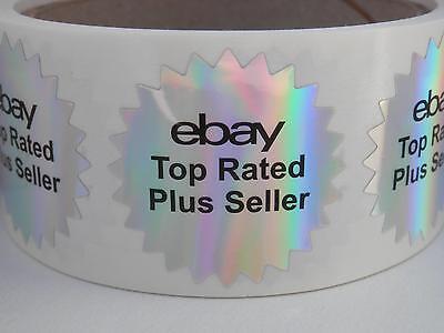 "ebay Top Rated Plus Seller 1.5"" starburst holographic prism label  250/rl"