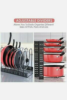 5 Adjustable Tier Pan Organizer Rack Pot Lid Holder Metal Dry Rack For Kitchen