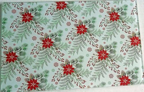 "CHRISTMAS Glass Cutting Board 11 3//4/"" x 7 3//4/"" HOLLY//PINECONE/'S AND POINSETTIA/'S"