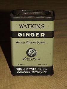 Vintage kitchen watkins ginger spice tin ebay for Retro kitchen set of 6 spice tins