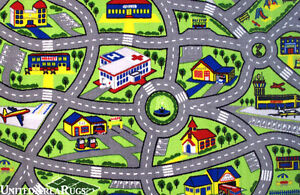 7x10 Area Rug Kid S Play Road Map Street Fun City Driving