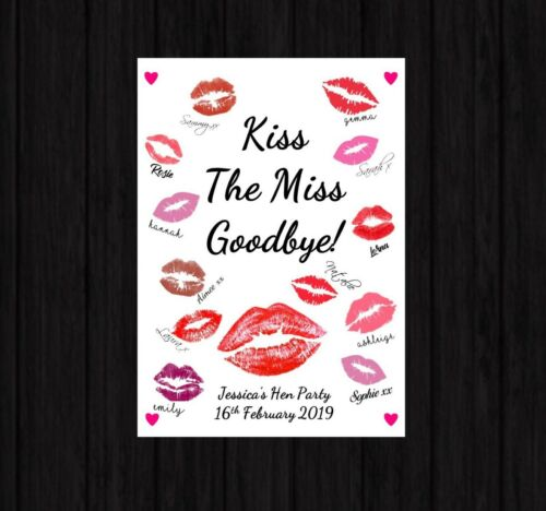 Personalised Hen Party /'Kiss the Miss/' Gift Prop Bride To Be Accessories Print