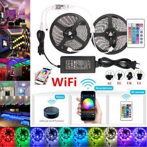 SMD-3528-RGB-Impermeable-Tira-de-Luz-LED-WIFI-control-remoto-infrarrojo-44-Teclas-potencia-12V-Kit