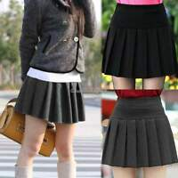Womens Ladies Stretch High Waist Plain Skater Flared Pleated Short Mini Skirt UK
