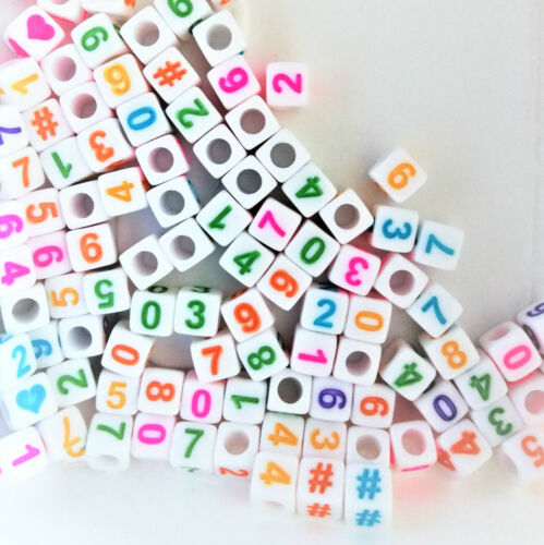100pcs cube white colourful numbers /& hearts #  acrylic beads 6mm